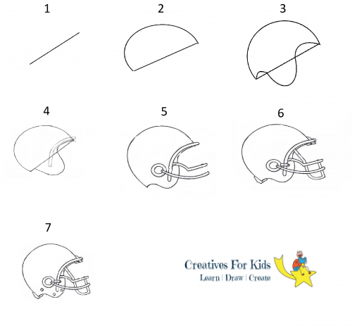 How To Draw A Football Helmet Step By Step Tutorial