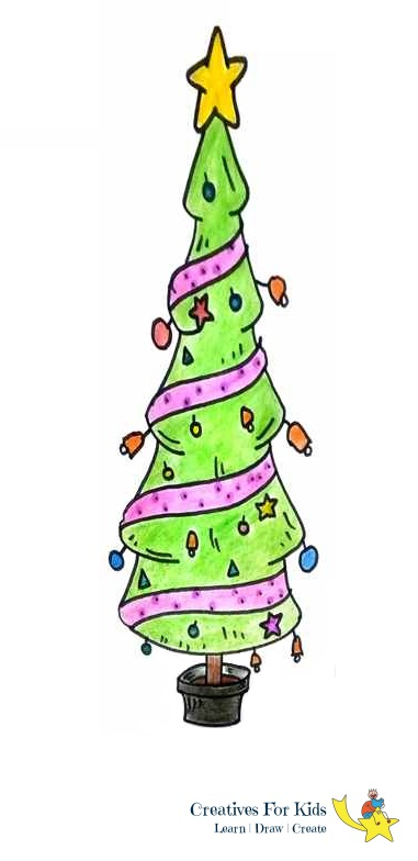 How to Draw a Christmas Tree? - Step-by