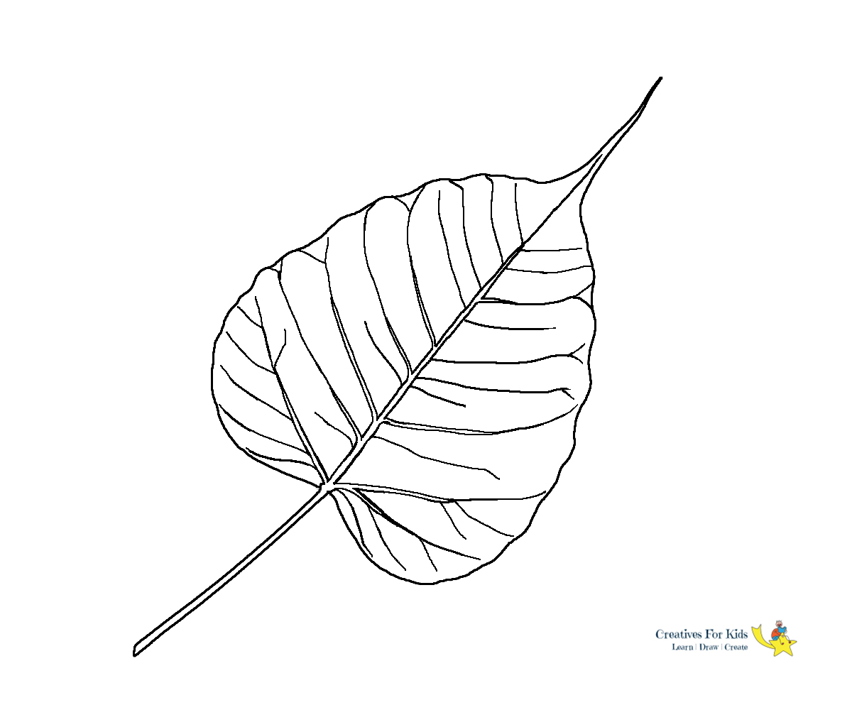 It is a picture of Leaves Coloring Pages Printable intended for blank leave